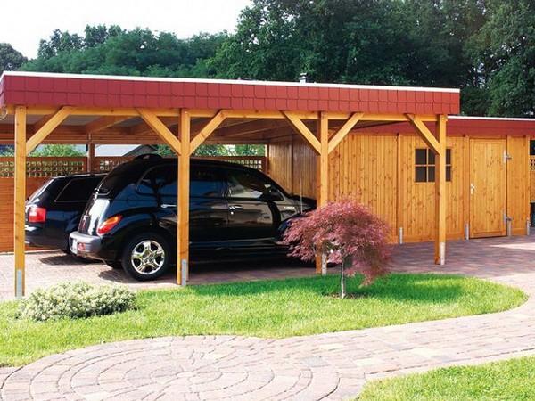 деревянный навес для машины на даче фото