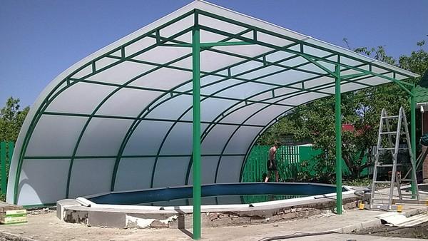 павильон для бассейна из поликарбоната своими руками фото