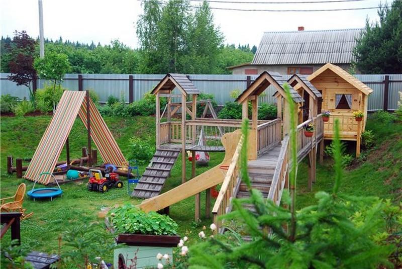детские площадки для дачи из дерева фото