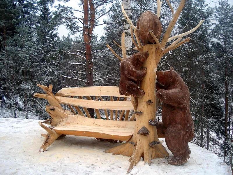 садовые скульптуры из дерева фото