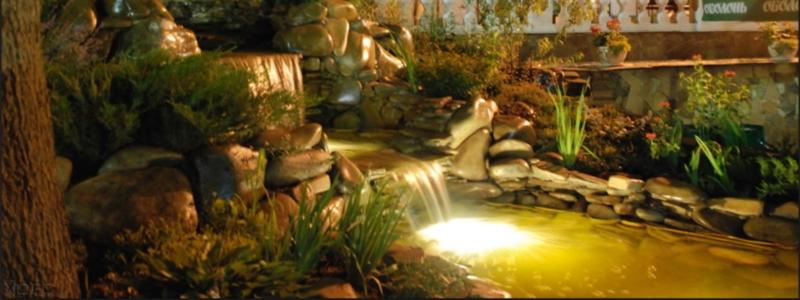 Освещение водоема: принцип организации декоративной подсветки пруда