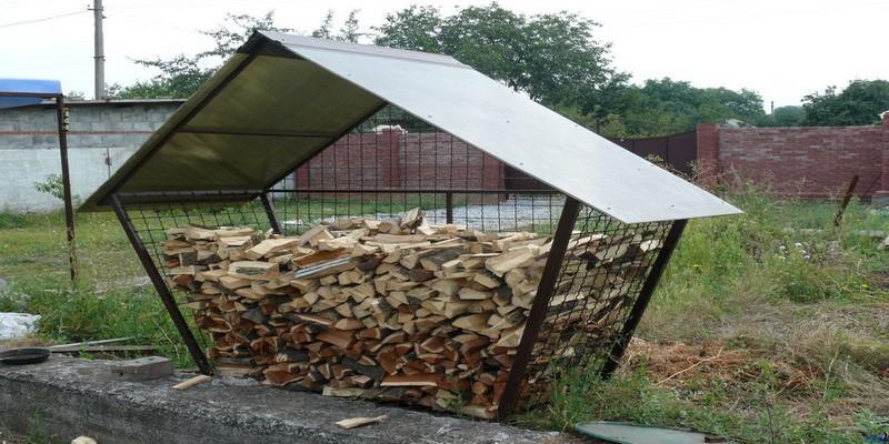 навес для дров своими руками фото