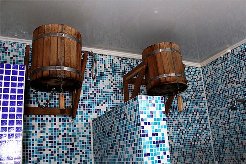 отделка душевой в бане фото