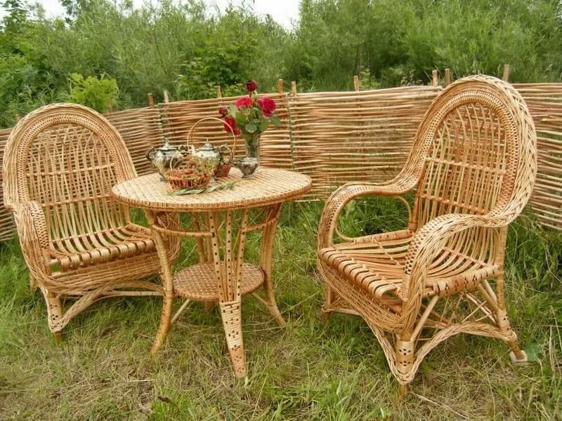плетеная мебель для дачи из лозы фото