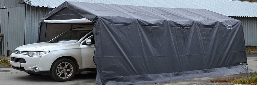 Тентовый гараж: преимущества для дачи и сборка