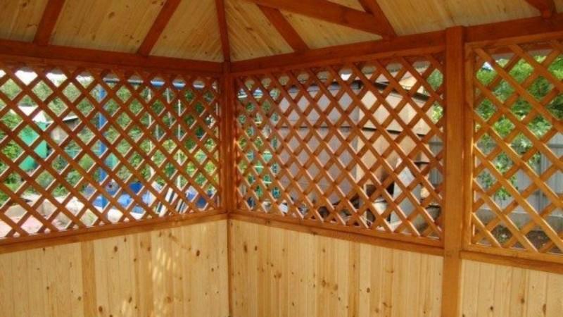 деревянная обрешетка для беседки фото