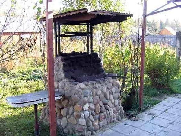 мангал для дачи с крышей фото