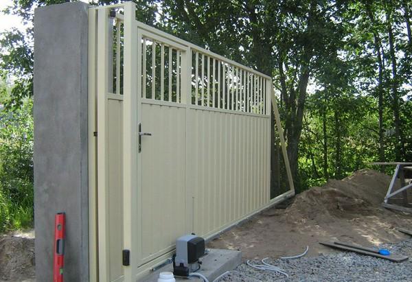 ворота для дачи с калиткой из профнастила фото