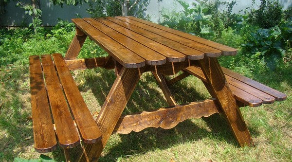 деревянный стол для дачи своими руками фото