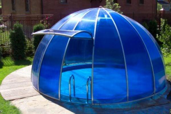 навес для бассейна из поликарбоната фото