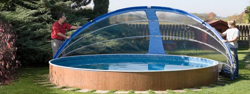 Навес для бассейна из поликарбоната своими руками фото