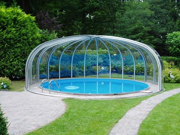 павильон для бассейна раздвижной фото