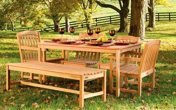 садовая мебель из массива дерева фото