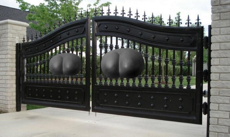 металлические ворота для дачи фото
