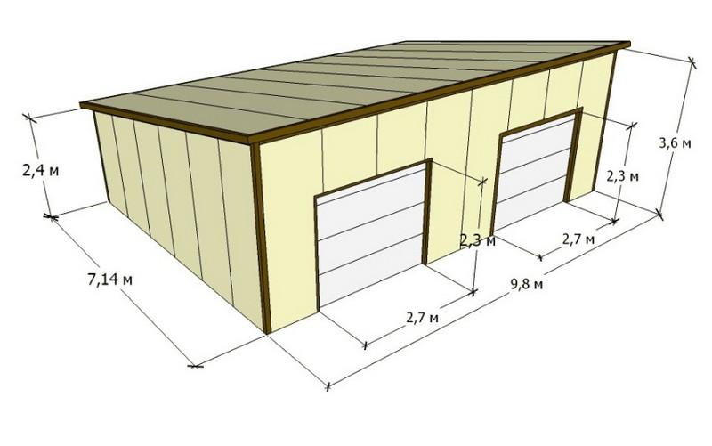 постройка гаража из сэндвич панелей фото