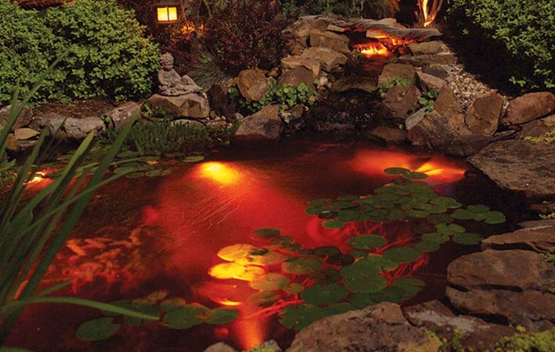 декоративная подсветка пруда фото