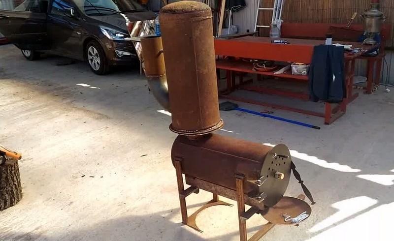 печь буржуйка из газового баллона фото