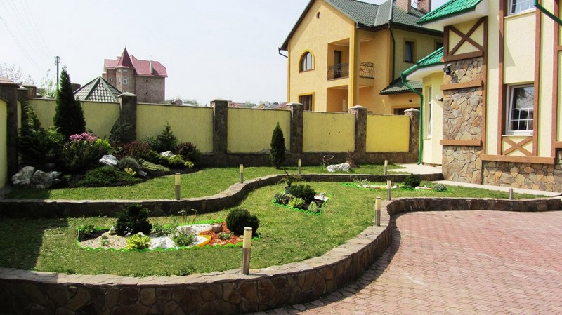 дизайн двора частного дома фото